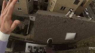 Guy jumps off a building, slides down a roof and lands on stairs for fun