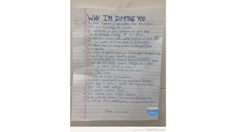 Why I'm Dumping You: A Complete List