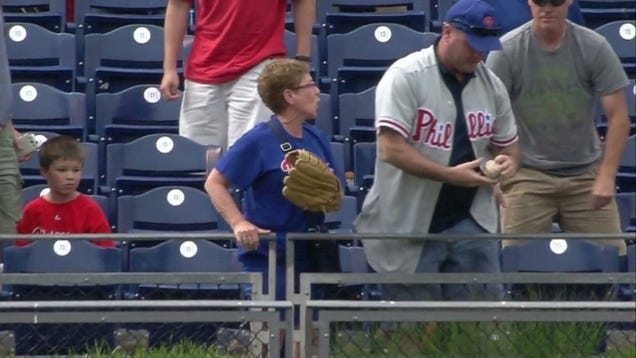 Phillies Fan Rips Home Run Ball Away From Old Lady