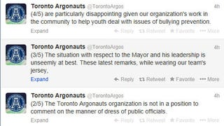 Toronto Argonauts upset Rob Ford is wearing their jersey.