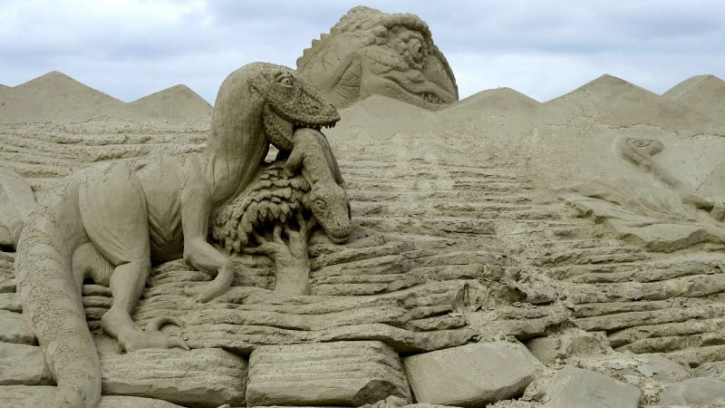 The greatest dinosaur-related sand sculpture ever