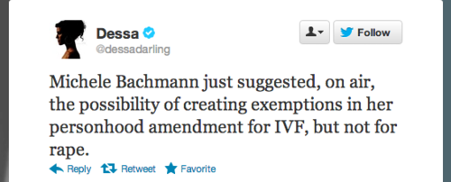 Michele Bachmann Thinks Personhood Amendment Shouldn't Apply to IVF, but Should Apply to Rape Victims