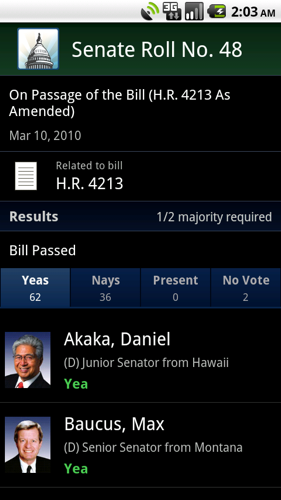 Congress App Puts Legislative Branch on Your Android