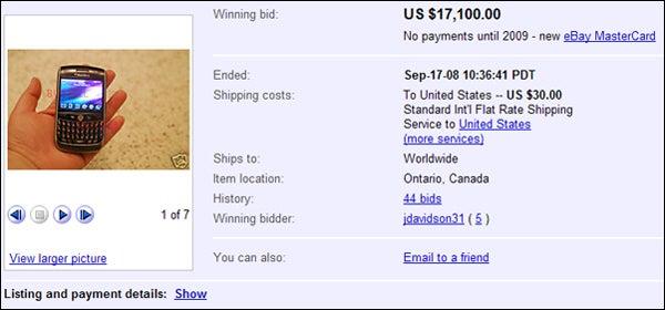 BlackBerry Javelin Sells for $17,000 on eBay