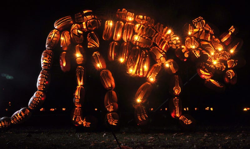 Dear god. This triceratops is made of pumpkins.
