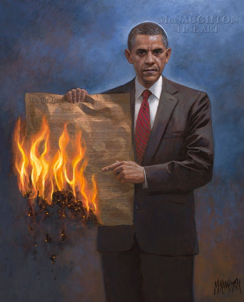 Here's a Cool New Painting of Obama Burning the Constitution