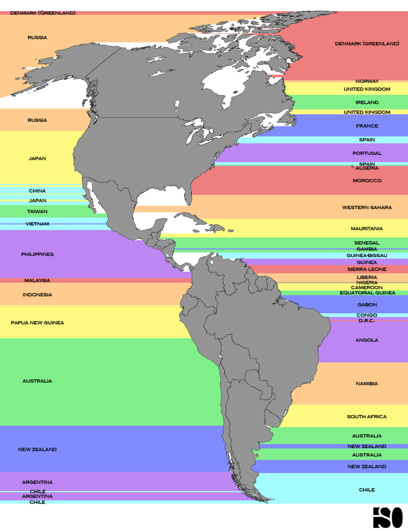 What Countries Are Due East And West Of The Americas?