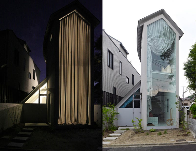 That's One Big Curtain For Such a Skinny House, Japan