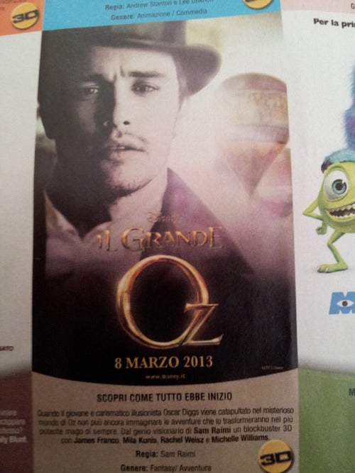 First image of James Franco as The Great and Powerful Oz is sad and pensive, also terrible