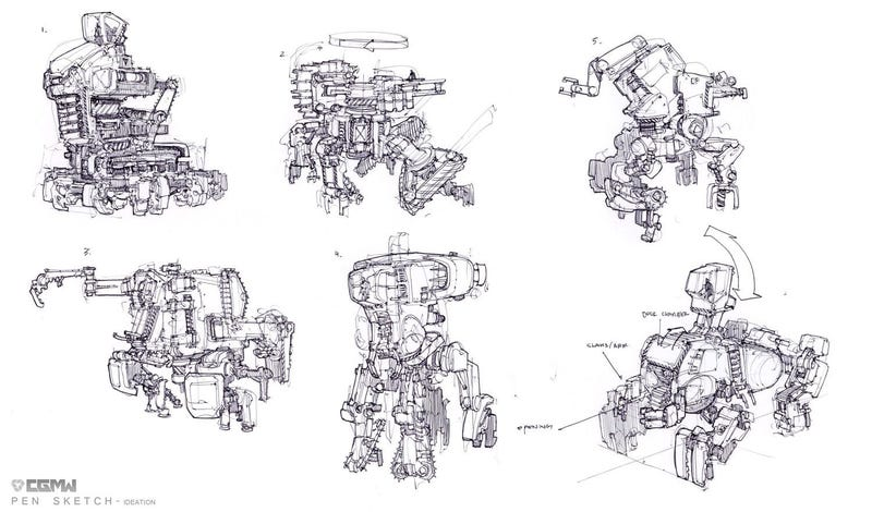 Some Kick-Ass Robot Designs From One of Hawken's Artists