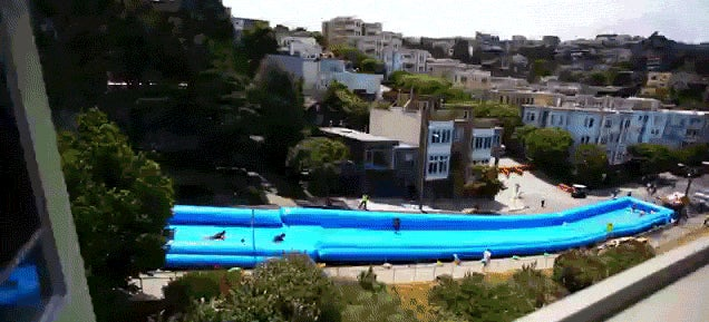 Nothing says summer more than this giant Slip 'n Slide on a city street