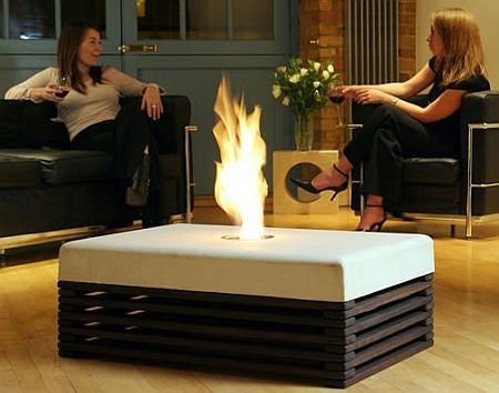 Fire Table Keeps Your Coffee Warm, Toasts Your Feet