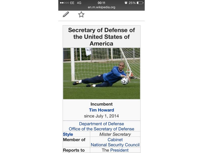 Tim Howard Now U.S. Secretary of Defense, According to Wikipedia