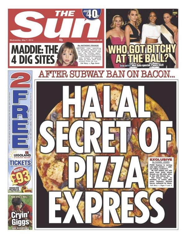 The Sun Wants You to Know About Pizza Express's Dirty Halal Secrets