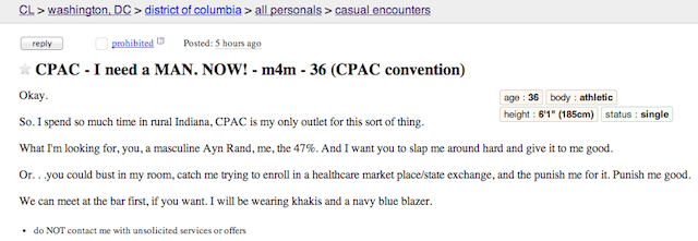 CPAC Gay Casual Encounters Craigslist Ads Are Too Perfect to Be True