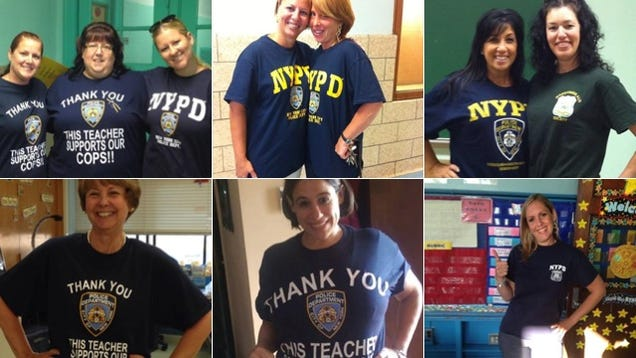 NYC Teachers Wear Shirts to Support Cops After Cop Murders Black Man