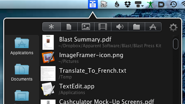 Blast for Mac Puts Recently Viewed Files in your Menubar