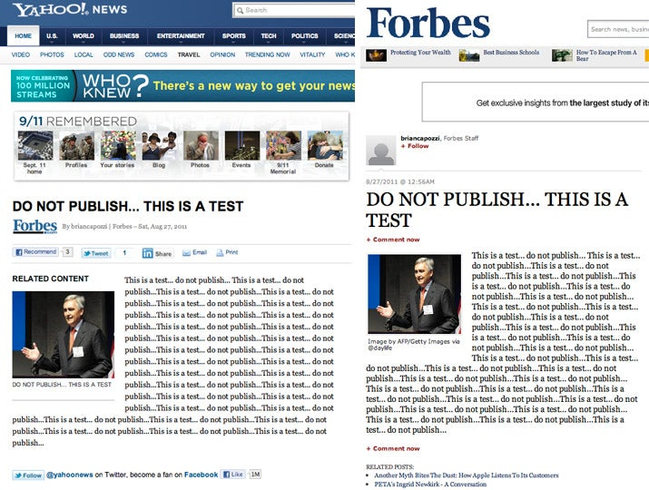 Website Publishes 'Do Not Publish This Is a Test,' Cruel World Laughs