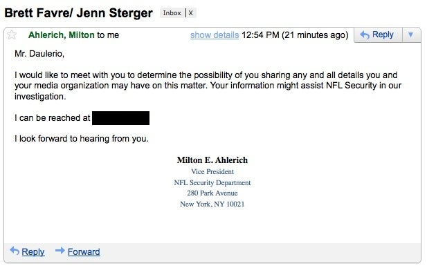 So It Begins: NFL Security Sends Us An E-Mail About Brett Favre And Jenn Sterger