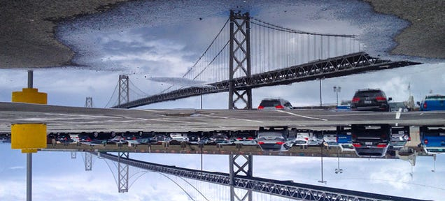 San Francisco's Sights Reflected Upside-Down In Perfectly Clear Puddles