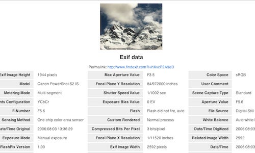 FindExif Reads Exif Data From Photos On the Web
