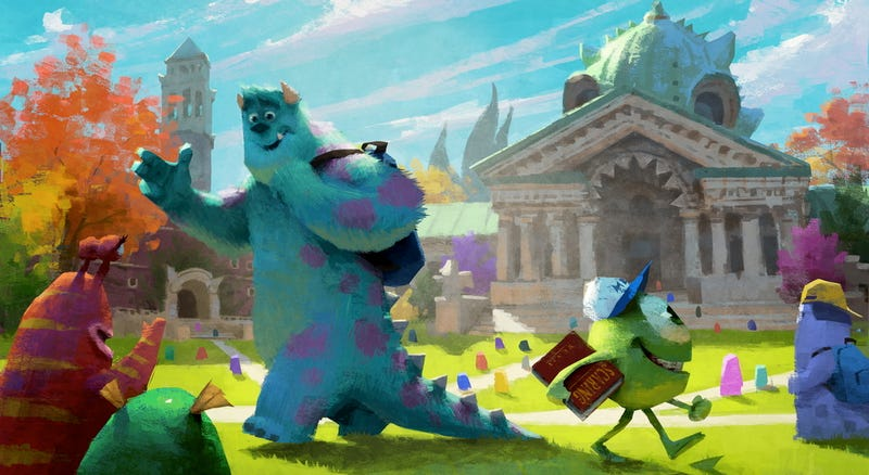Concept art for Monsters University shows Sulley and Mike on the creepy quad
