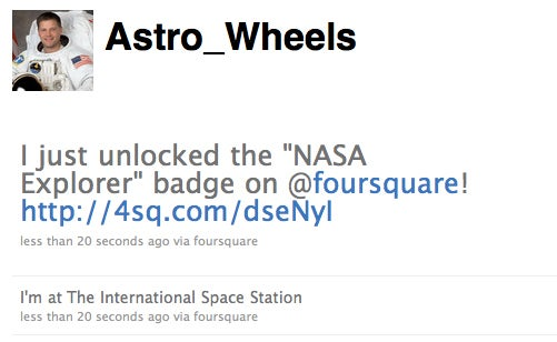 Astronaut Checks Into Foursquare From Space