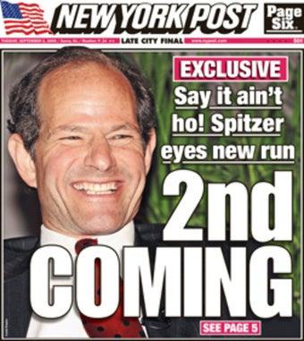 Eliot Spitzer Still Comedy, Tabloid Gold