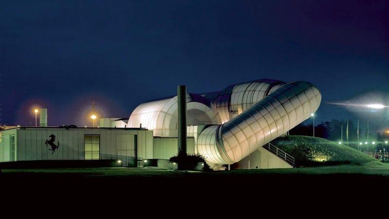 Ferrari's Wind Tunnel Looks Like A Sci Fi Wonderland At Night