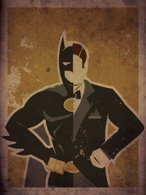 Minimalist superhero posters bisect Batgirl and Spider-Man into their alter egos