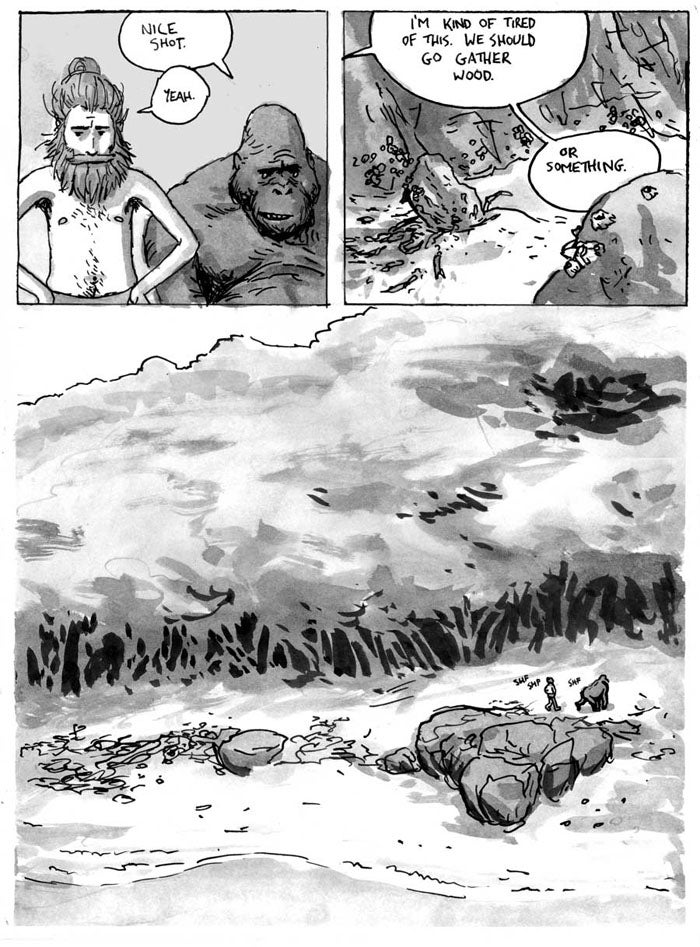 Read a bittersweet comic about a man shipwrecked with a talking gorilla