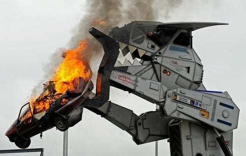 Behold The Car-Crushing Fury Of Robosaurus!
