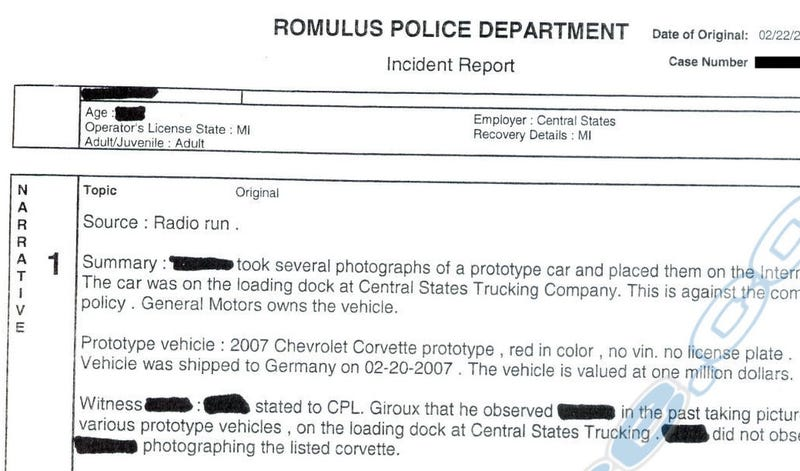 Breaking! Police Report From The Great Million Dollar Corvette SS Mule Photo Caper!