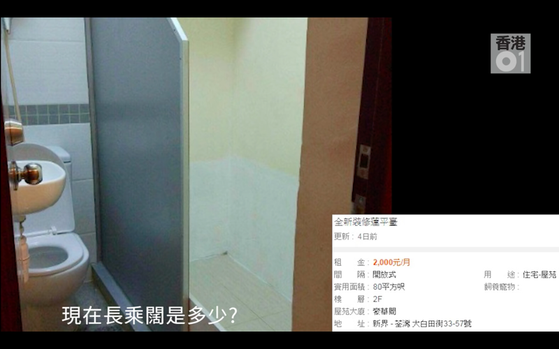 Tiny Toilet Room With Partial Wall For Rent in Hong Kong