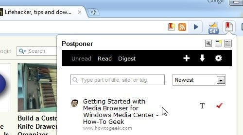 Postponer Adds ReadItLater Integration to Google Chrome