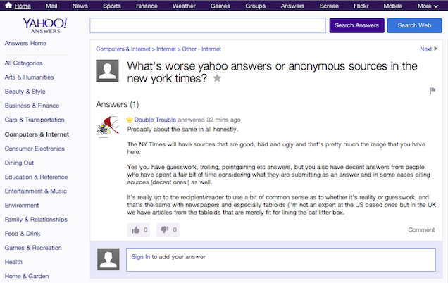 What's Worse, Anonymous Sources or Yahoo! Answers? An Investigation