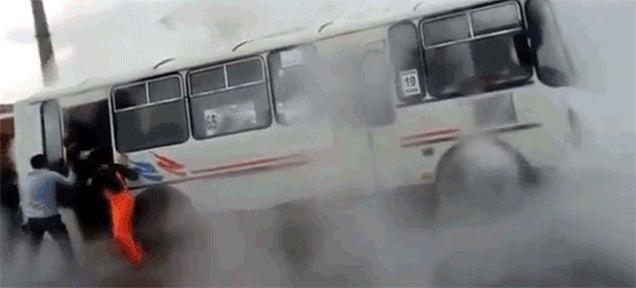 Crazy Russian Bus Driver Stops On Broken Steam Pipe, Burns Passengers
