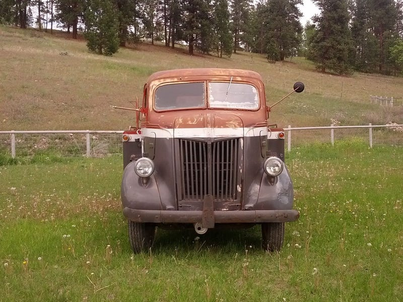 Vintage Fuel Truck Is Pretty As The Montana Mountains It's Posing With