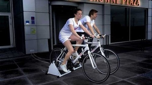 Hotel Guests Pedal Bikes For Their Supper