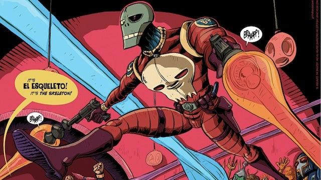 El Esqueleto is a Hitler-cloning, dinosaur-riding, space mobster-shooting, grindhouse webcomic