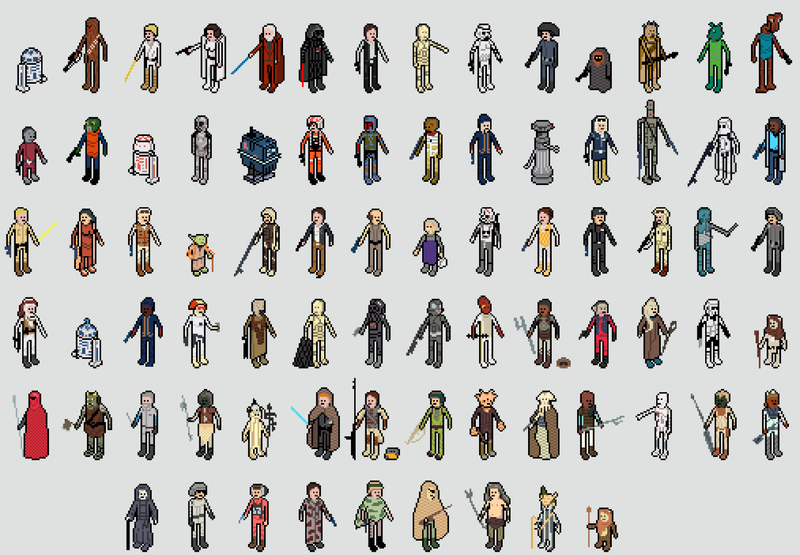 Fully Posable Star Wars Action Figures, in Pixelated Form