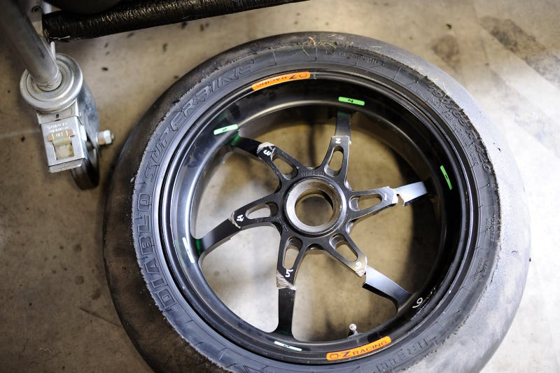 This is what a motorcycle wheel looks like after it beats you
