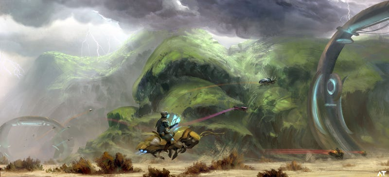 Concept Art Writing Prompt: Stormy Ride on the Back of a Cyborg Insect