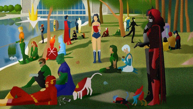 """DC heroes and villains invade Georges Seurat's """"A Sunday Afternoon"""""""