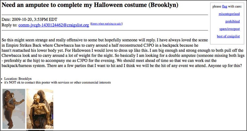 Craigslist Ad By A Horrid Excuse for a Human Being
