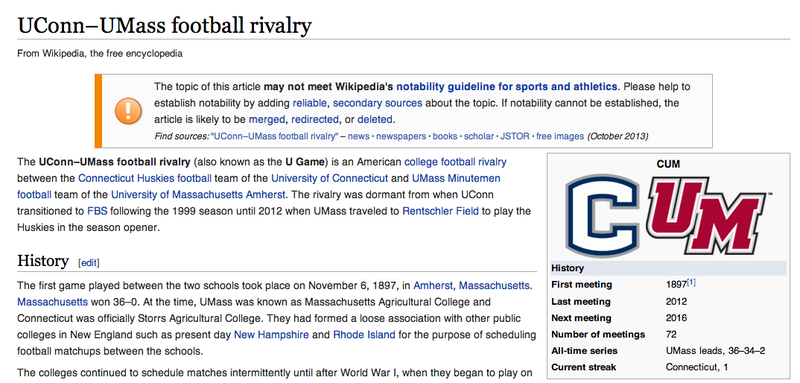 The UConn-UMass Football Rivalry Wikipedia Page Has A Great Image