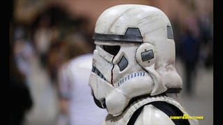 Why would someone cosplay as a zombie Stormtrooper? For the kids, of course. The folk
