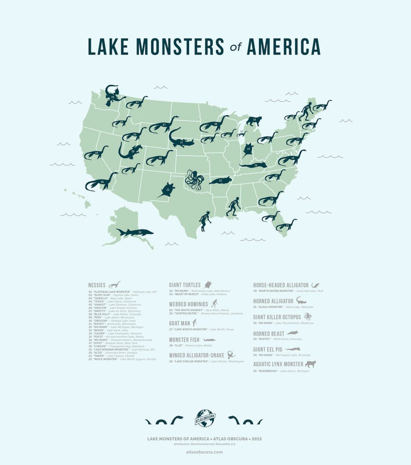 A Map of the United States' Mythical Lake Monsters