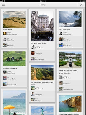 Pinterest for iPad Gallery