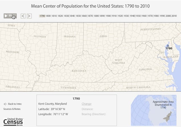 Watch As The U.S. Population Goes West Over The Last 220 Years